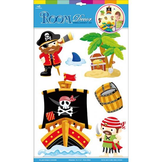 Deco muurstickers piraten 6 stuks