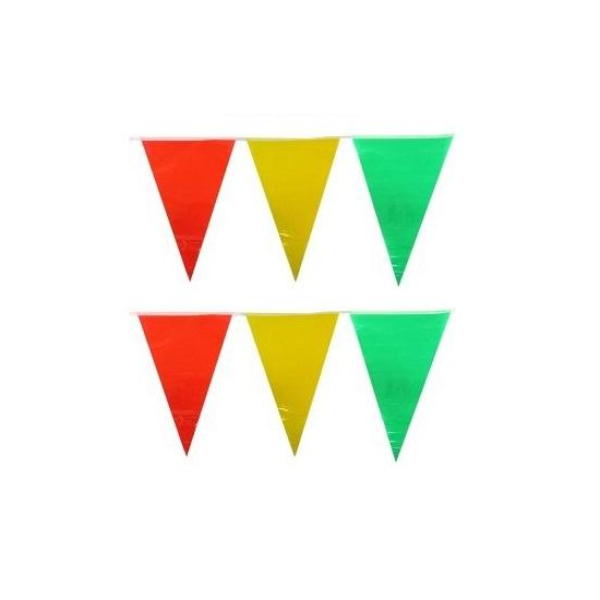 Decoratie vlaggenlijn geel rood groen 10 meter