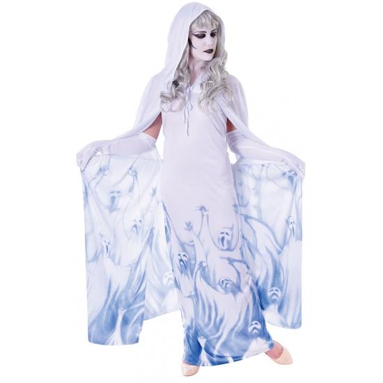 Demonen dames kostuum wit met blauw
