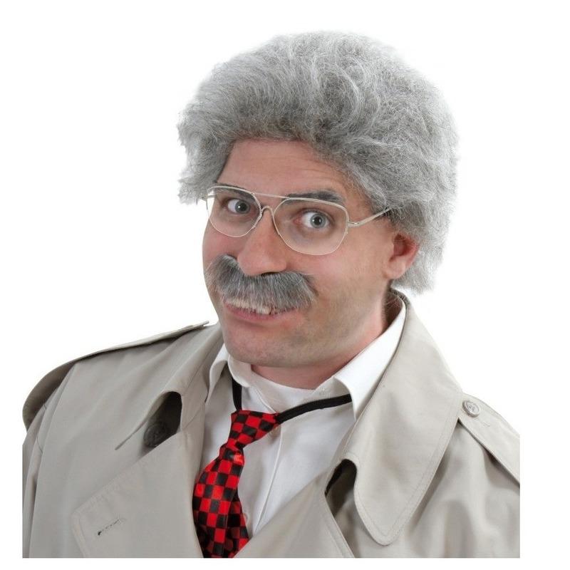 Detective pruik met snor grijs