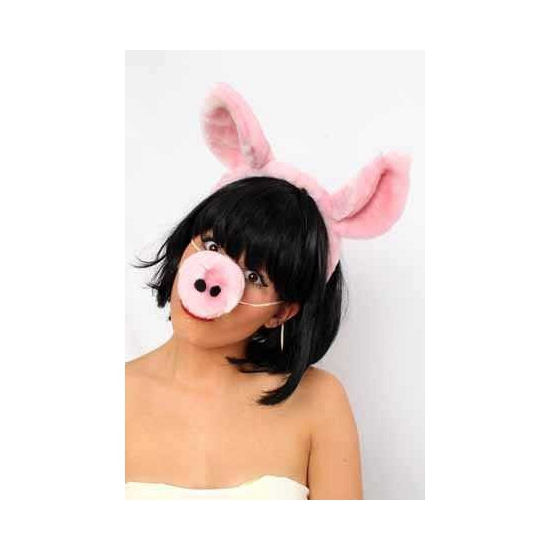 Diadeem met varkensoren en neus