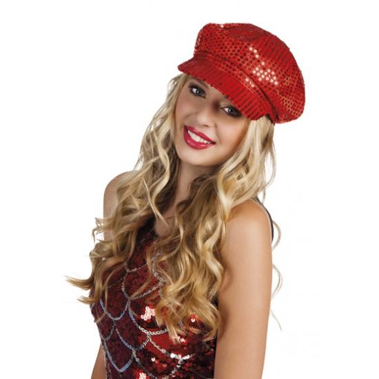 Disco hoeden pailletten rood