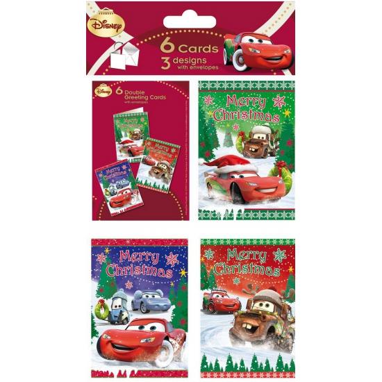 Disney Cars thema kerstkaarten 6 stuks