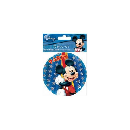 Disney Mickey Mouse ronde uitnodigingen 5 stuks