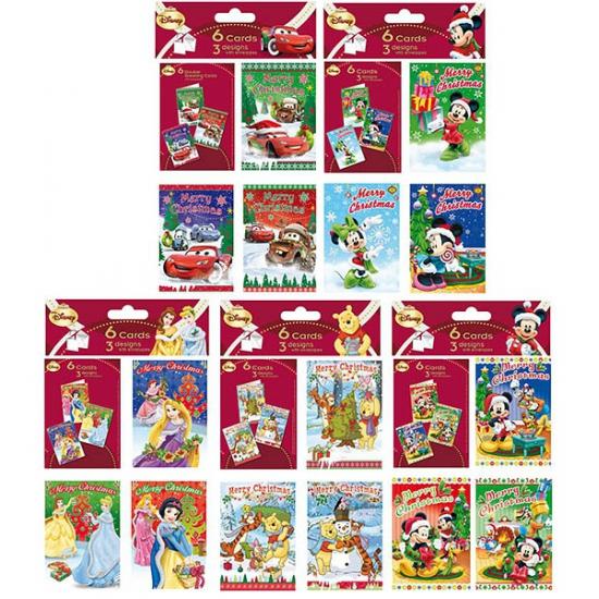 Disney Mickey Mouse thema kerstkaarten 6 stuks