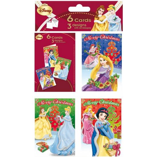 Disney Princess thema kerstkaarten 6 stuks