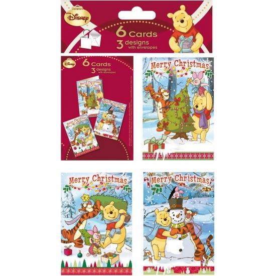 Disney Winnie de Poeh thema kerstkaarten 6 stuks