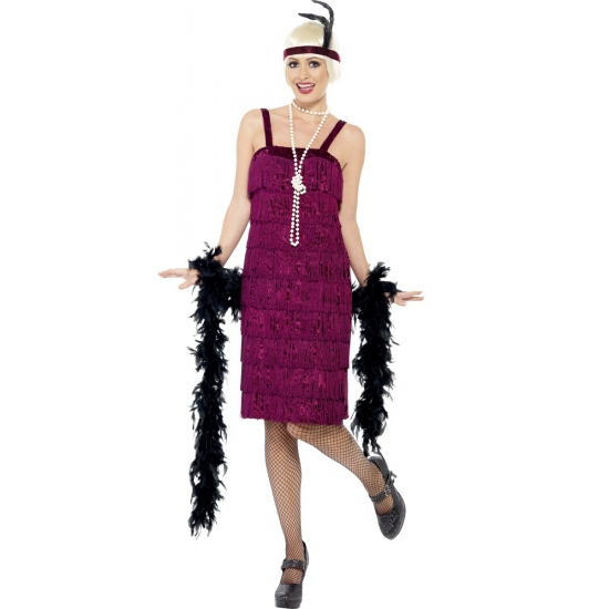 Donkerrode jaren 20 jurk
