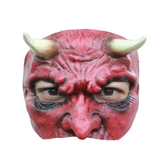 Duivel met hoorns masker half