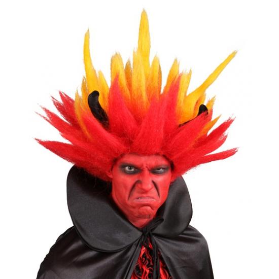 Duivel pruik met vlammend haar