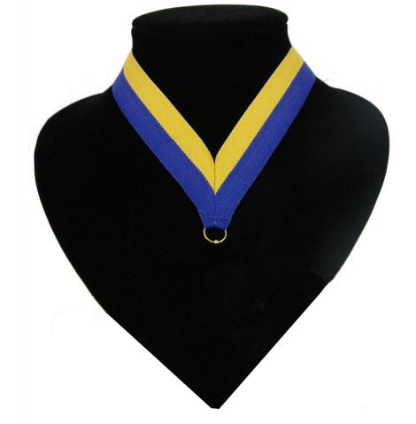 Fan medaille lint blauw en geel