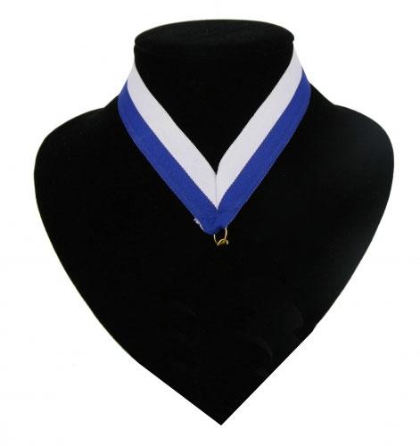 Fan medaille lint blauw en wit