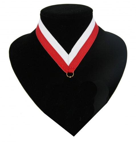 Fan medaille lint rood en wit
