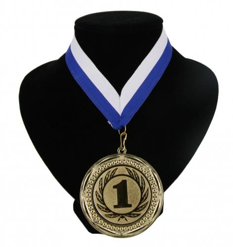 Fan medaille nr. 1 lint blauw en wit