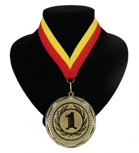 Fan medaille nr. 1 lint rood en geel