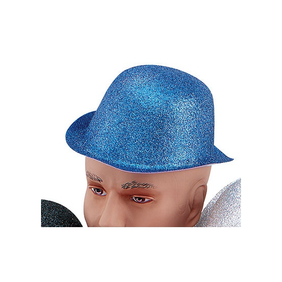 Feest bolhoed met blauwe glitters