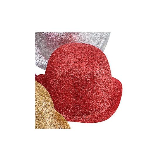 Feest bolhoed met rode glitters