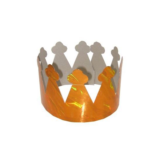 Feest kroontjes oranje van karton 6x