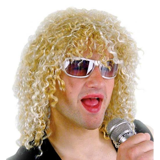 Feest pruik blonde rocker