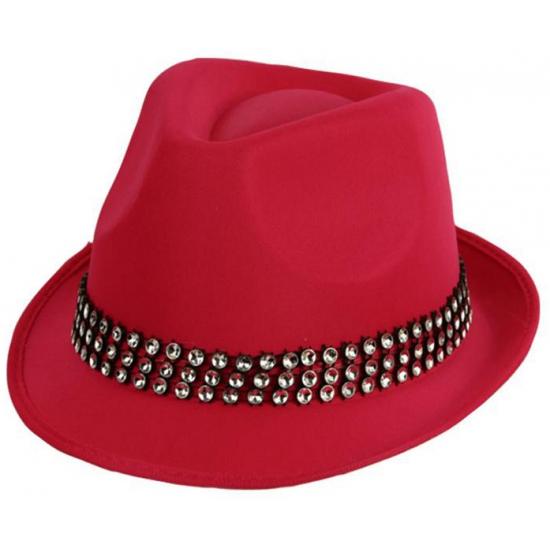 Feestartikelen roze hoed met zilveren stenen