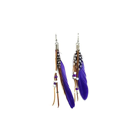 Festival oorbellen met paarse veren