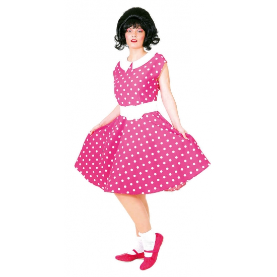Fifties jurkje met polka dots roze wit