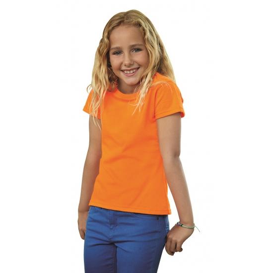 Fruit of the Loom shirt oranje voor meiden