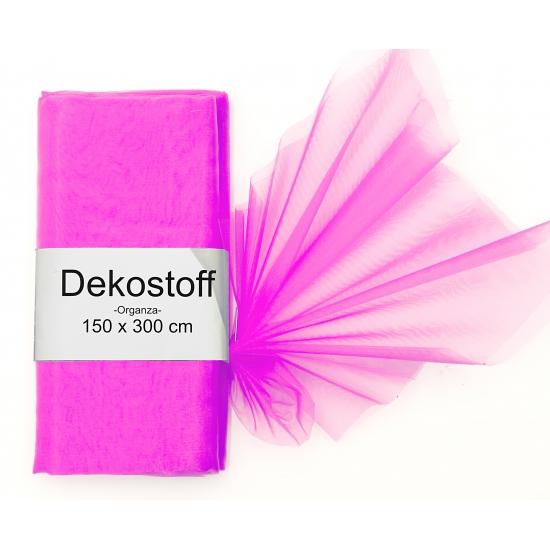 Fuchsia roze organza stof 150 x 300 cm