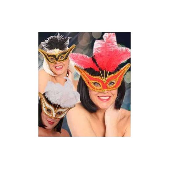 Gala oogmasker met veertjes