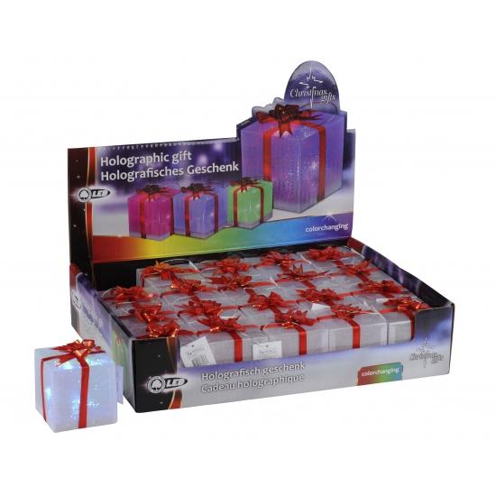 Gekleurd LED cadeautje 7,5 cm