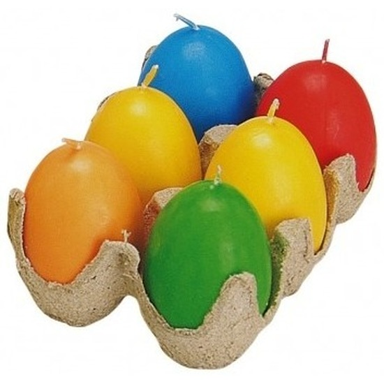 Gekleurde eier kaarsjes 6 stuks
