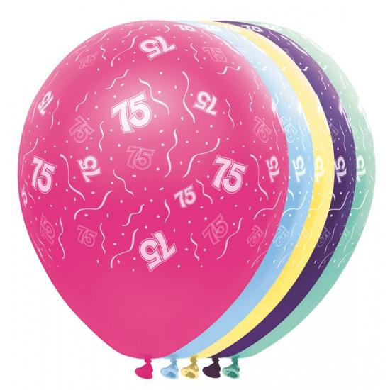 Gekleurde helium ballonnen 75 jaar