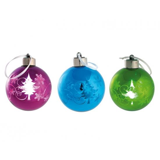 Gekleurde kerstbal met LED licht