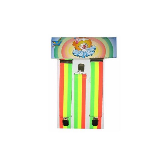 Gekleurde Rainbow bretels neon