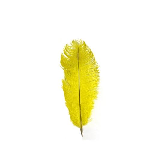 Gele baret veer 35 cm