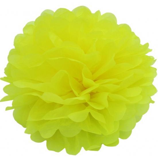 Gele bloem pompom 35 cm