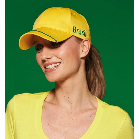 Gele brazil cap voor volwassenen