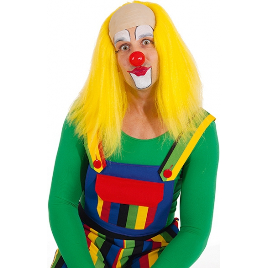 Gele clowns pruik voor volwassenen