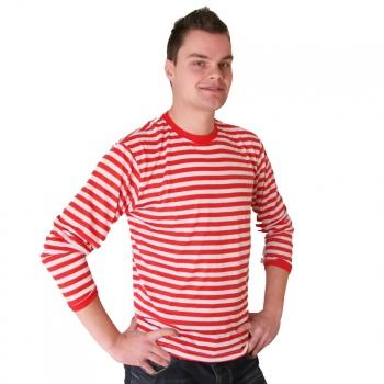 Gestreept verkleed t shirt rood met wit voor heren