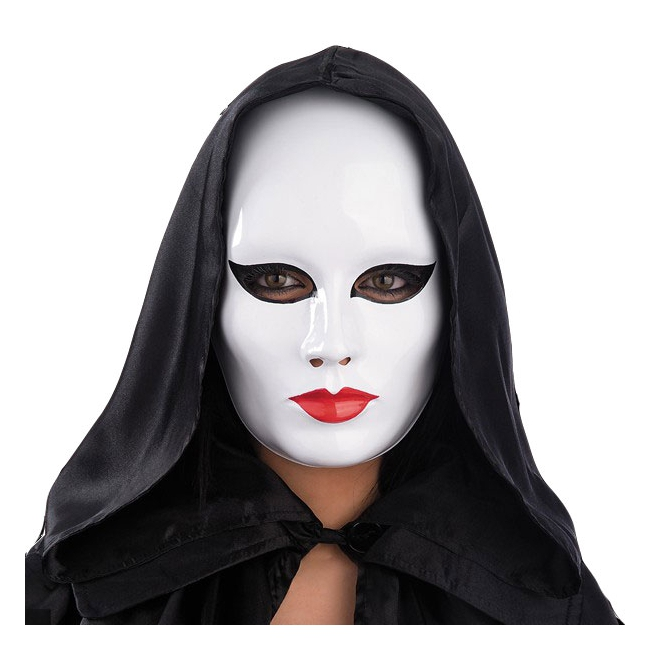 Gezichtsmasker wit met rode lippen