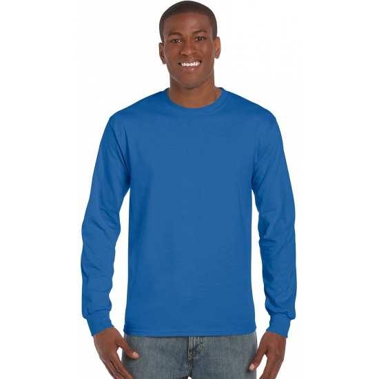 Gildan t shirt lange mouwen kobalt blauw