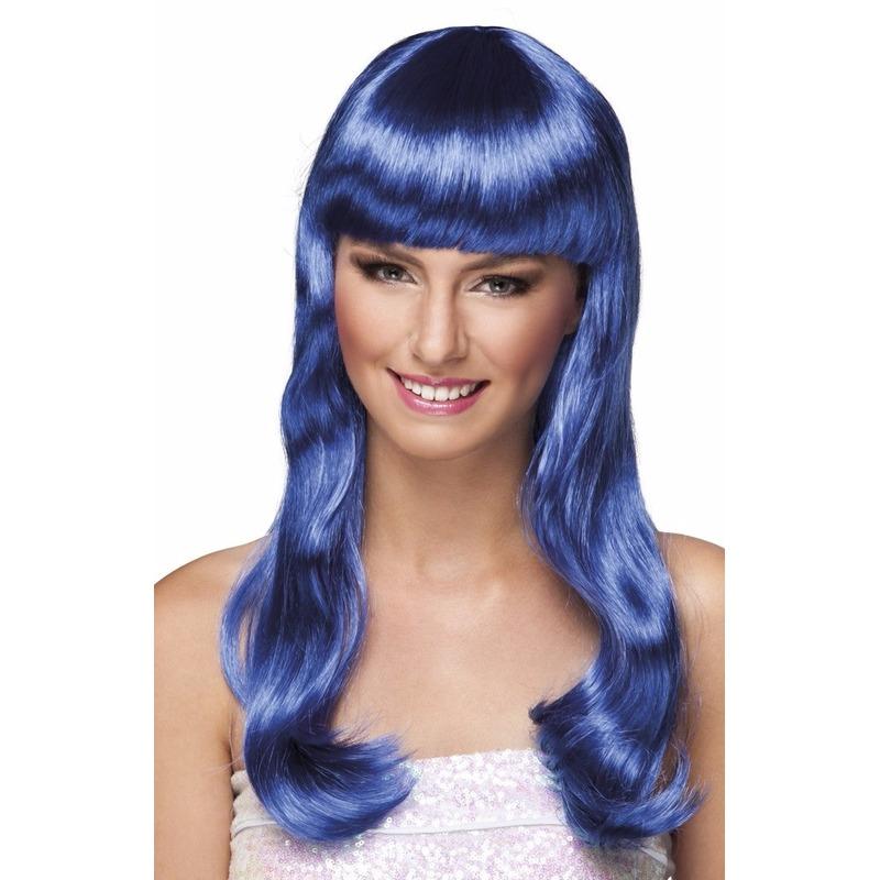 Glamour blauwe pruik voor dames
