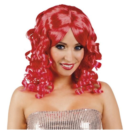Glamour damespruik rood met krullen