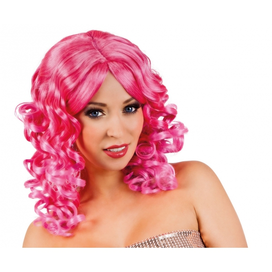 Glamour krullen pruik roze