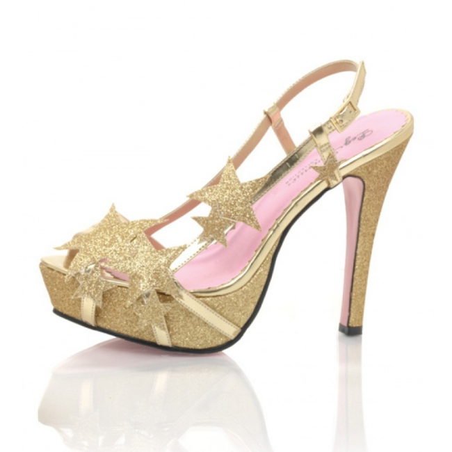 Glitter gouden pumps met sterren