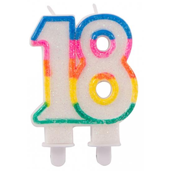 Glitter kaars cijfer 18