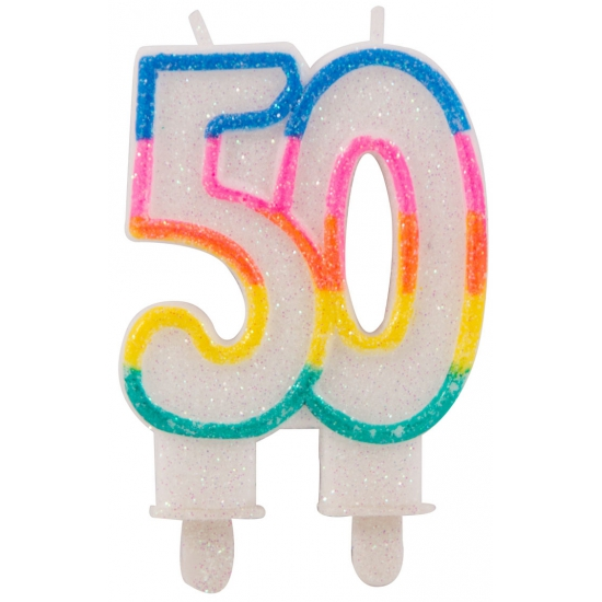Glitter kaars cijfer 50