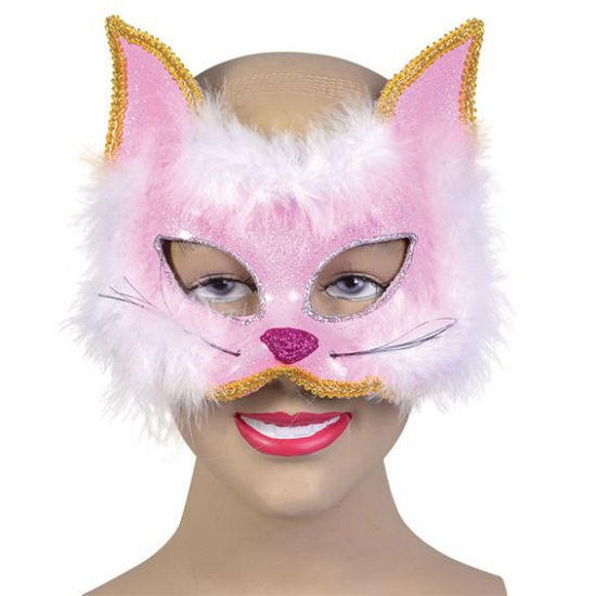 Glitter katjes masker met roze bont