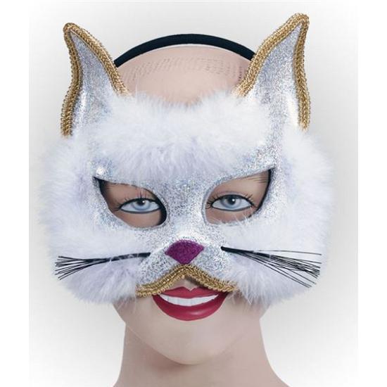 Glitter katjes masker met wit bont