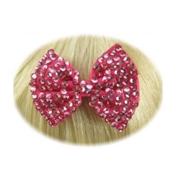 Glitter strik haarklem roze